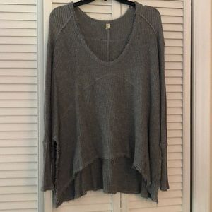 Free People gray thermal with fringe ends